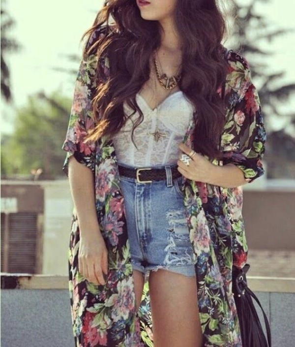 blouse kimono denim shorts bralette cute outfits summer outfits top