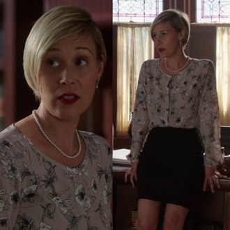 blouse bonnie winterbottom htgawm how to get away with murder white top pink white black shirt top casual formal floral flowers