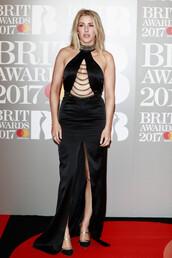 dress,gown,prom dress,slit dress,ellie goulding,brit awards,red carpet dress,maxi dress,shoes