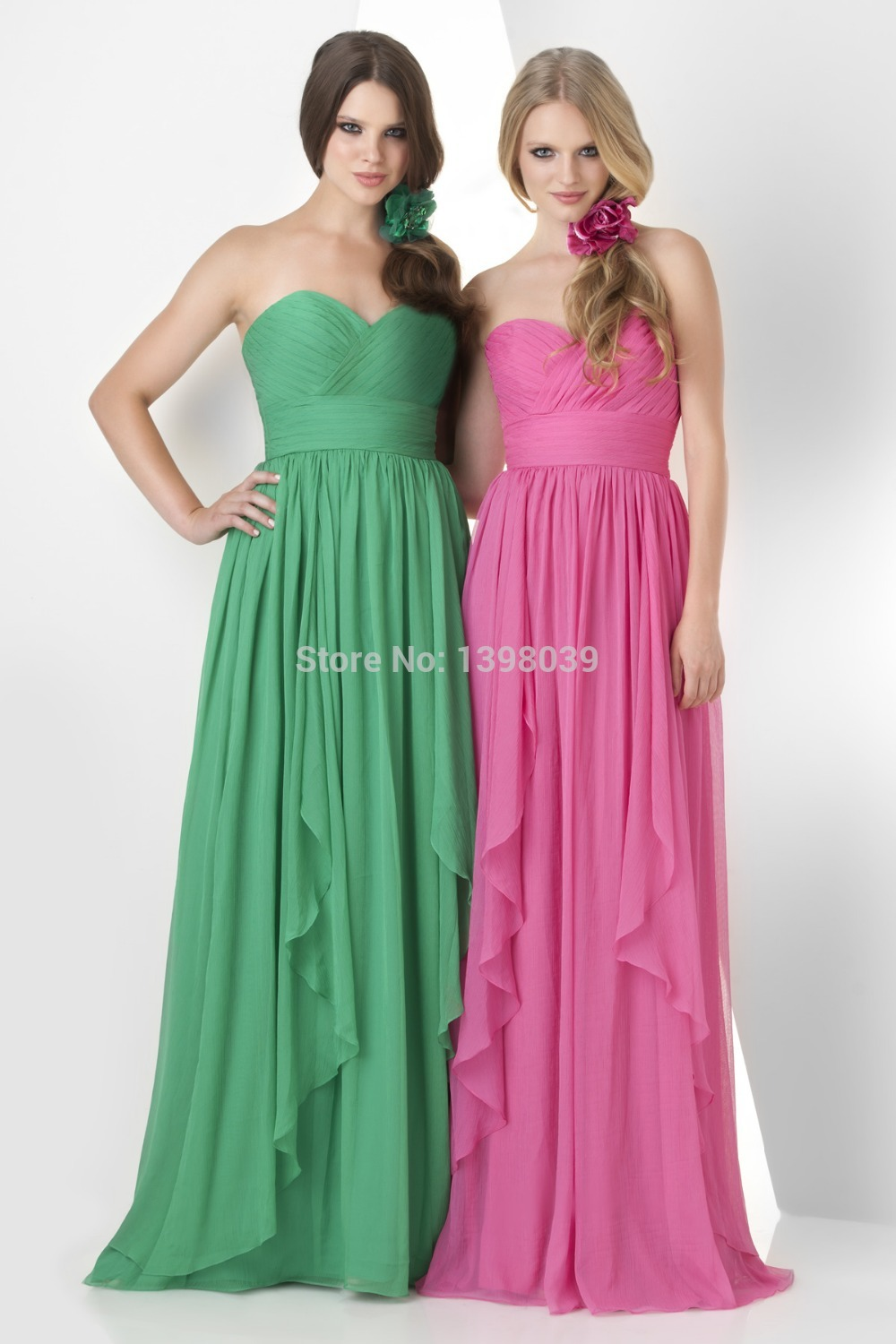 Aliexpress.com : Buy Simple Design A line Sweetheart Green Pink Chiffon Bridesmaid Dresses 2014 Long Elegant Formal Dress Gowns from Reliable dresses belt suppliers on Silence Angle