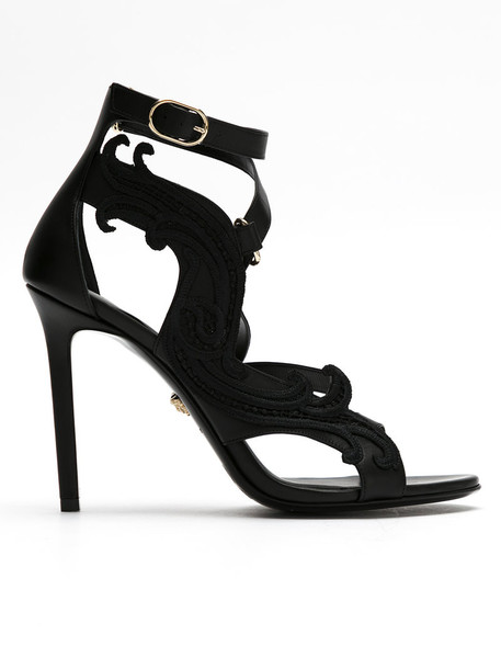 VERSACE embroidered women sandals leather black shoes