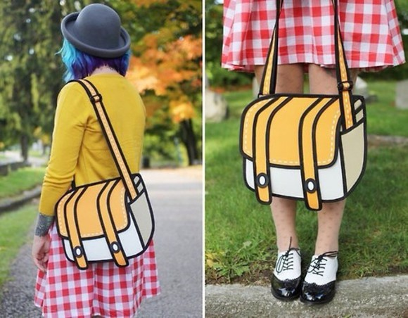cartoon bag yellow white