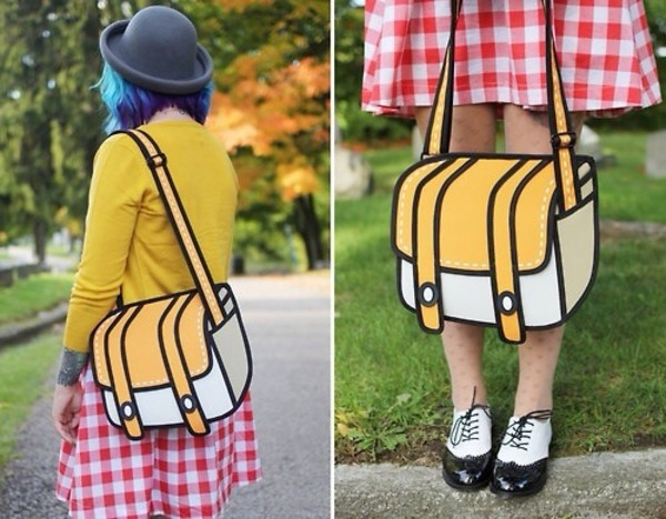 bag cartoon yellow white 9gag is this real? omg! looks great comics nerd stuff just for the cool kids so badass i dont give a fuck i dont even know what i should tag so needy it looks so cool thanks instagram outfit drawing school bag bookbag back to school