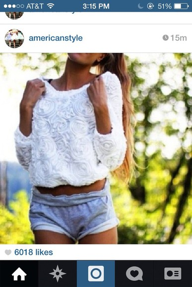 white blouse urban outfitters american apparel roses shorts sweater cute