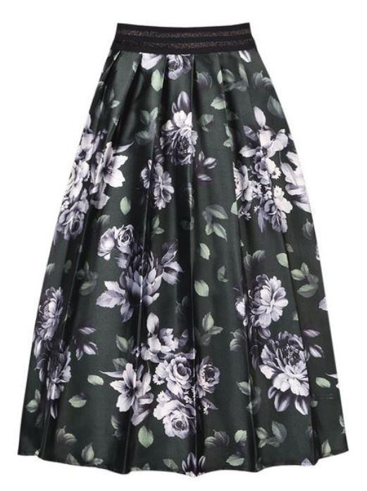 Olive 3D Floral Print High Waist Midi Skirt