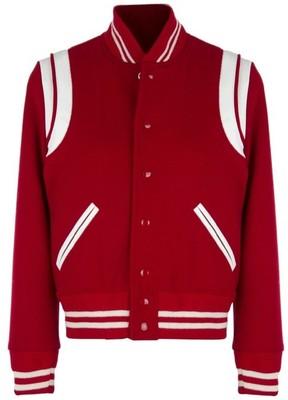 2edd784779c Saint Laurent Leather Striped Wool Varsity Jacket (Red)