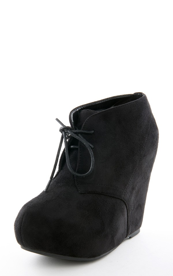 Breckelle's jenny13 black buckle wrap wedge booties shop boots at makemechic.com