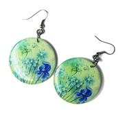 jewels,flowers,flowery earrings,disc earrings,beautiful earrings,blue,ziziztime,ziz earrings
