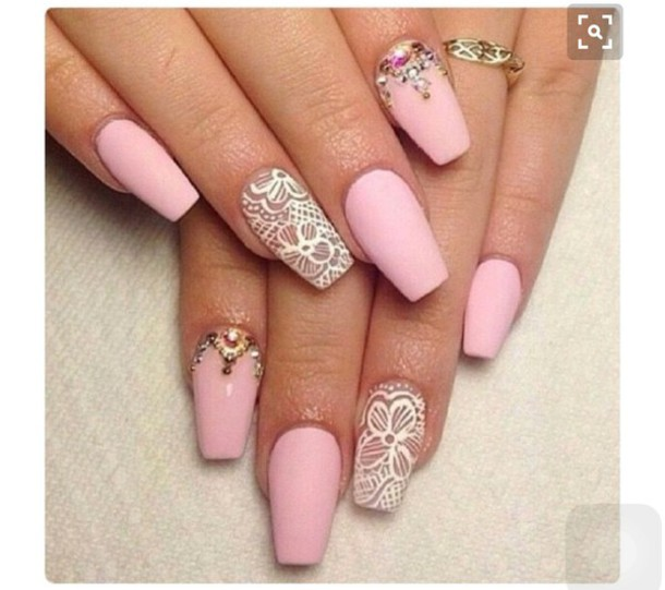 nail polish, pink, jewels, nail art, acrylic nails - Wheretoget