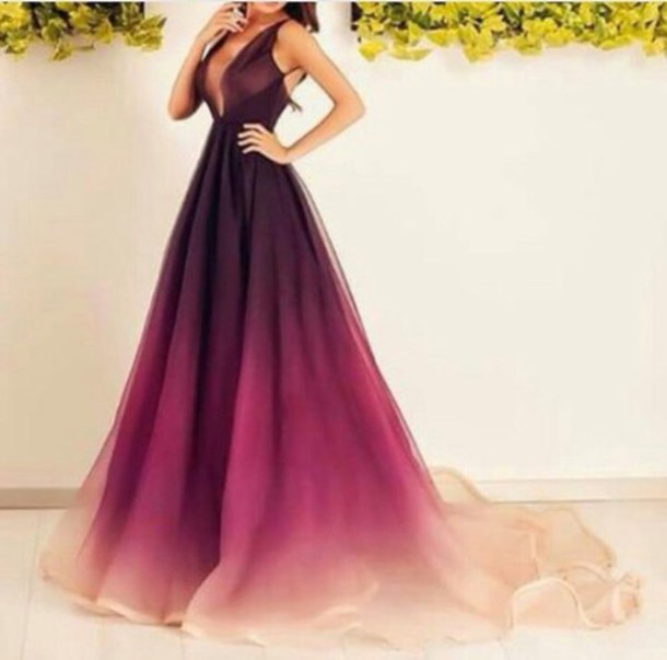 Dress Ombre Prom Dress Maxi Dress Ombré Dress Ombré Purple