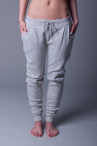 pants sweatpants skinny leg low rise drawstring pleated baggy clothes bag grey sweatpants