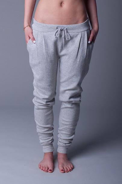 pants sweatpants skinny leg low rise drawstring pleated sweatpants baggy clothes bag grey sweatpants