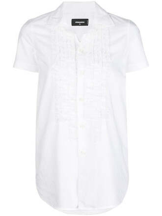 shirt ruffle women white cotton top