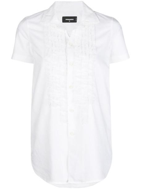 Dsquared2 shirt ruffle women white cotton top