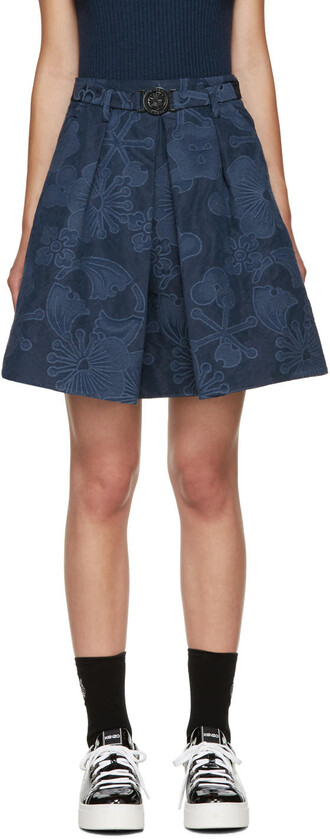 skirt jacquard floral navy