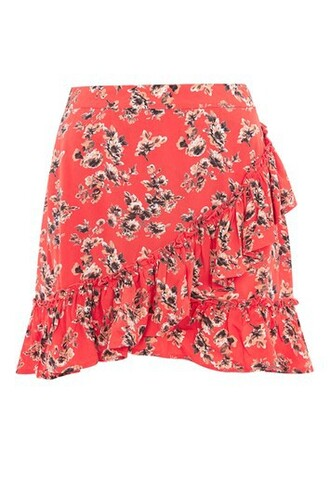skirt floral red