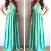 dress,mint dress,long dress,strapless dress,lace dress,heart shaped,silk,mint,maxi dress,cute,teal,teal dress,flowers,long prom dress,cute dress,aqua dress,teal maxi
