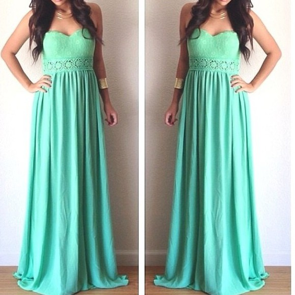 dress strapless dress mint maxi dress long dress mint green dress cute lace dress heart shaped silk beautiful dress