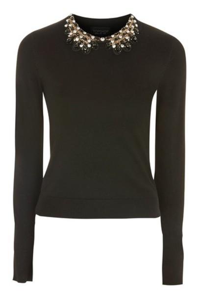 Topshop jumper embellished black sweater