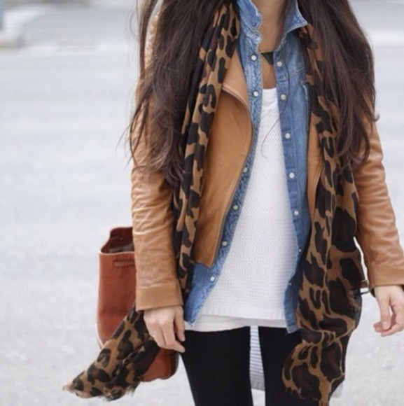 shirt bag leopard jacket leather scarf denim
