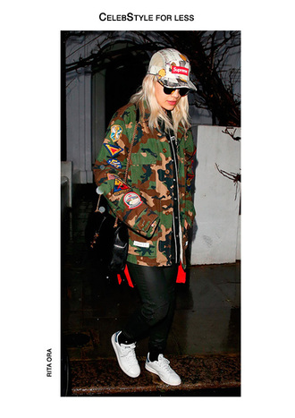 jacket celebstyle for less rita ora camouflage camo jacket cap adidas shoes white sneakers red sweater leather pants black bag shoulder bag pants shoes sweater hat bag sunglasses