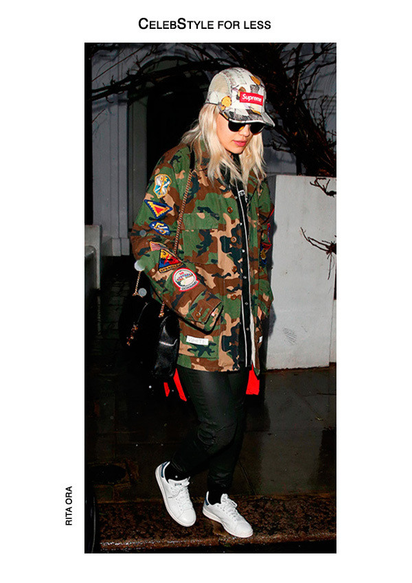 jacket celebstyle for less rita ora camouflage camo jacket cap adidas shoes white sneakers red sweater leather pants black bag shoulder bag pants shoes sweater hat bag sunglasses stan smith