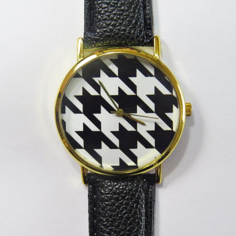 Black and White Houndstooth Watch , Vintage Style Leather Watch, Women Watches, Unisex Watch, Boyfriend Watch,
