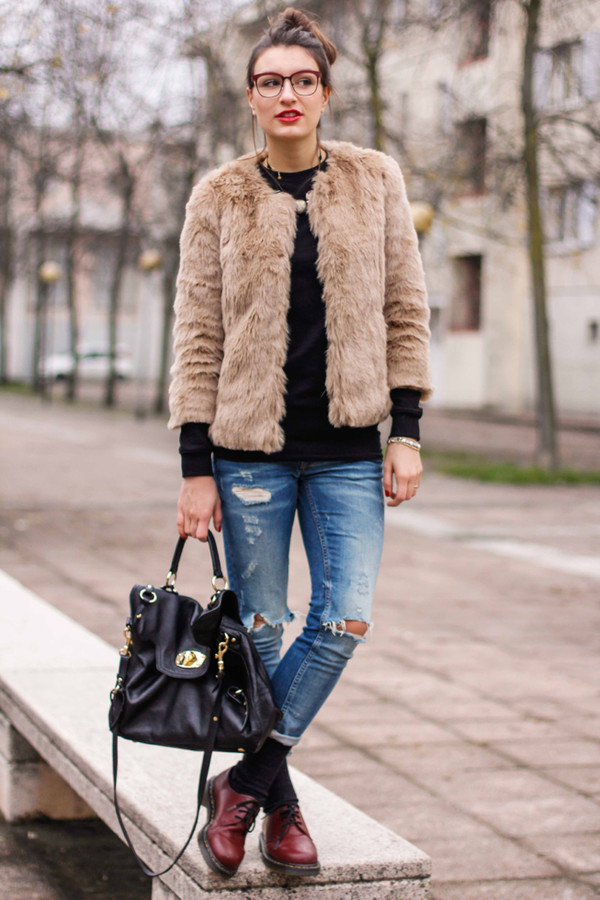 style and trouble coat bag jeans sweater shoes jewels