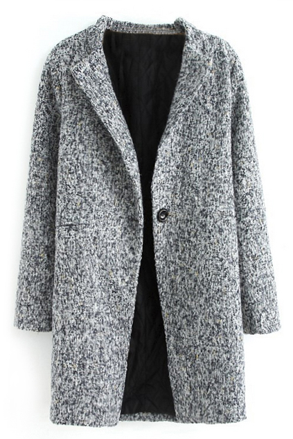 ROMWE | ROMWE Pocketed Buttoned Grey Coat, The Latest Street Fashion
