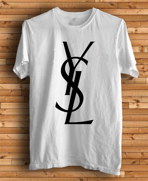 New YSL Logo Men White T Shirt Tee Size SXXXL YS1 by kingclothing