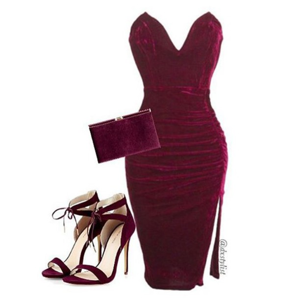 Dress: velvet velvet dress wine velvet dress burgundy velvet ...
