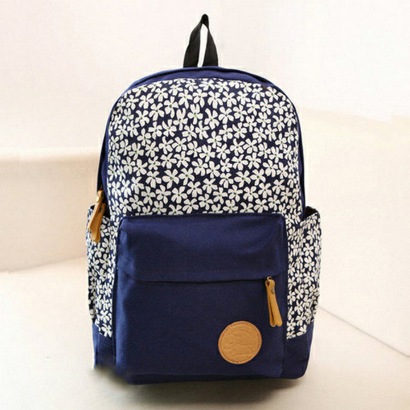 bag flowers print school bag blue backpack daisy