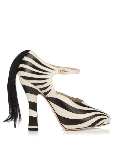 gucci zebra pumps leather white black shoes