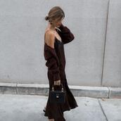 ms treinta,blogger,dress,cardigan,shoes,bag,jewels,slip dress,fall outfits,mini bag