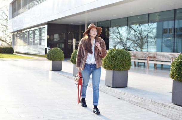 blaastyle blogger jeans hat faux fur