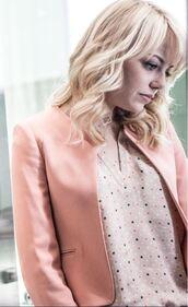 blouse,pink,polka dots,vshape,cute,gwen stacy,jacket