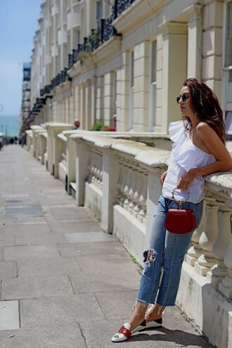 shoes top tumblr loafers denim jeans blue jeans ripped jeans bag red bag one shoulder ruffle