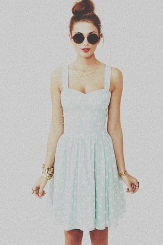 dress summer blue sunglasses polca dots blue dress pastel dress light blue floral dress cute dress short dress