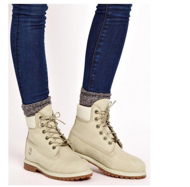 shoes boots cream timberlands off-white lace up boots winter boots