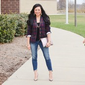 morepiecesofme,blogger,jewels,jacket,tank top,jeans,bag,shoes,blazer,clutch,high heel pumps,pumps