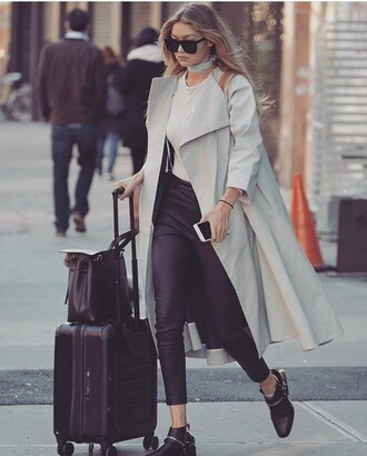 coat jacket cool grey gigi hadid blue trendy cold winter outfits winter sweater winter coat winter swag swag chic classy stay classic grey trench coat