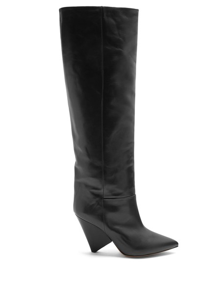 knee-high boots high leather dark grey shoes