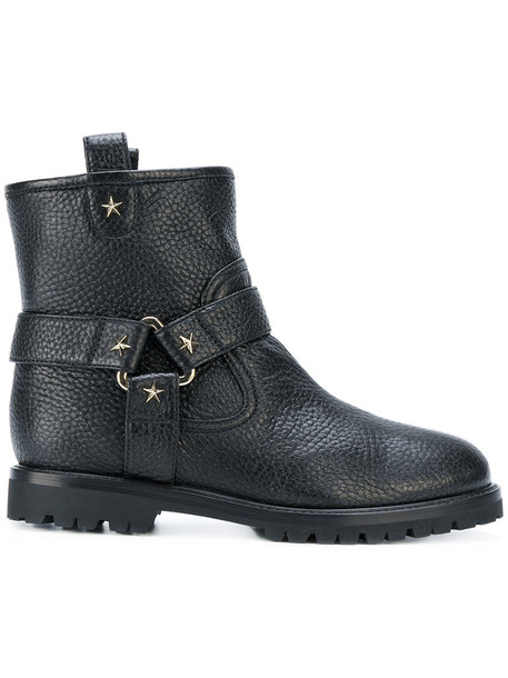 Aquazzura studded women boots ankle boots leather black shoes