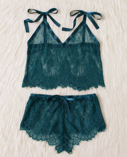 underwear girly green lace two-piece lingerie lace lingerie