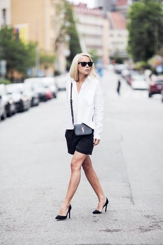 victoria tornegren blogger shoes shorts bag shirt classy