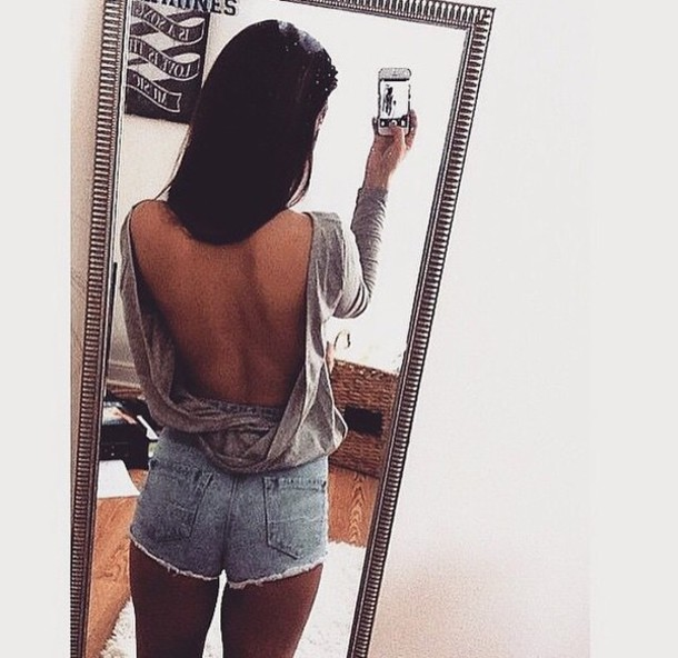 top tank top t-shirt grey open sexy fashion summer open back top