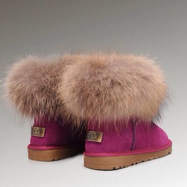 shoes, ugg boots, winter boots, fluffy, ugg boots, pink, fox fur, cute, boots, cozy - Wheretoget
