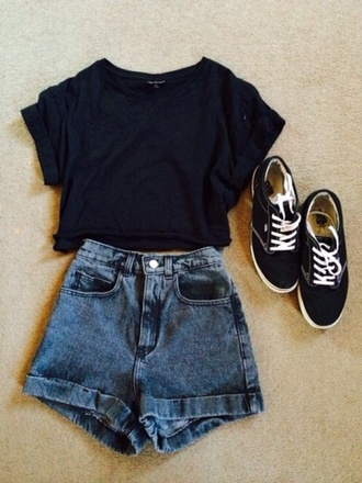 shirt short shorts sneakers shoes black black sneakers laces white laces dark blue dark blue shirt denim