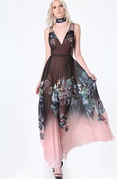 dress,black dress,black,pink,pink dress,pleated,pleated dress,prom dress,gown,prom gown,print,black and floral,floral,maxi dress