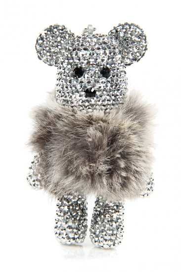 LoveMelrose.com From Harry & Molly | Large Rhinestone Teddy Bear Keychain- Silver